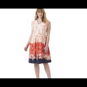 Covington plus floral fit & flare dress coral/navy